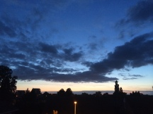 Clouds giving a nice contrast against the beautifully colored sky above Enschede