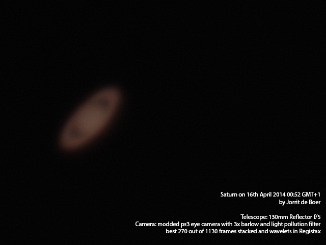 Saturn with ps3 webcam and 3x barlow (stacked and edited)