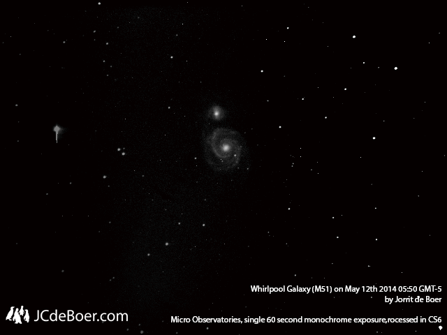 M51, Whirlpool Galaxy. Photo with Micro Observatory telescope Ben