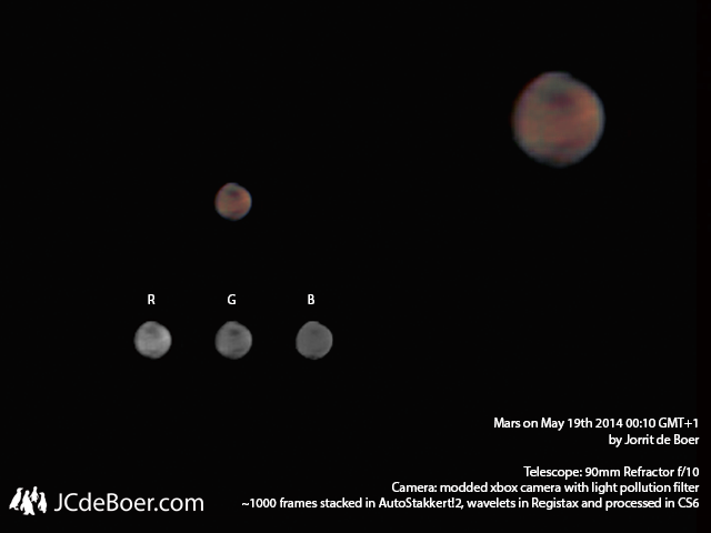 Mars with xbox webcam through 90mm achromatic refractor.