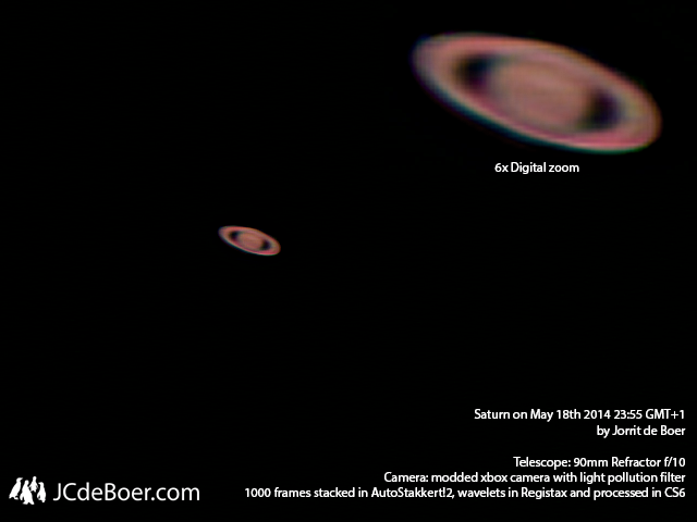 Saturn from last night, stacked, RGB aligned, applied wavelets, adjusted contrast and used smart sharpening.