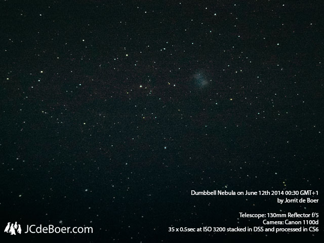 M27, Bumbbell Nebula in 35 x 0.5 sec at ISO 3200 through 130mm newtonian