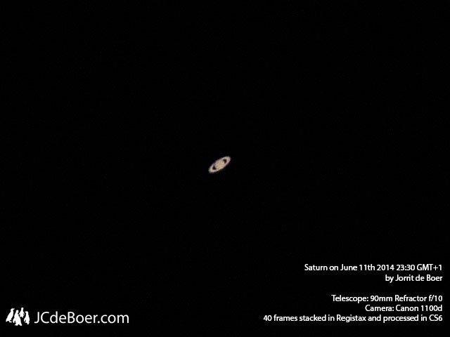 Saturn with 90mm refractor. Prime focus, no barlows or powermates.