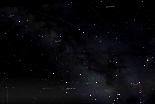 Stellarium screenshot of what's out there