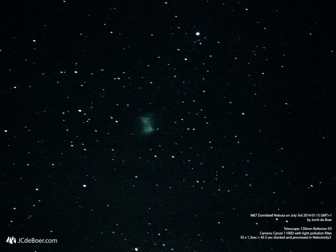 The Dumbbell Nebula (M27) through a 130mm telescope with light pollution filter