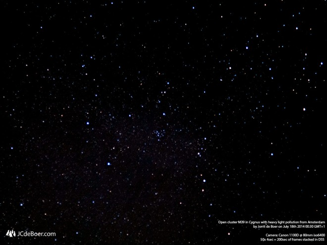 The M39 open cluster in Cygnus