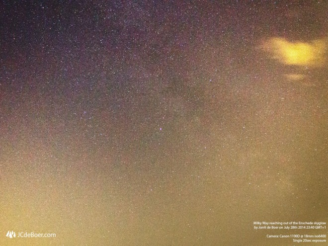 Milky Way reaching out of the Enschede skyglow
