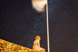 My girlfriend under the star-littered night sky of Sao Miguel