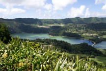 Green crater lake at Sete Cidades