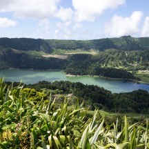 Green crater lake at Sete Cidades