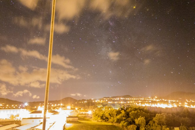 The Milky Way over Sao Miguel (glow in the center is from the city, Ponta Delgada)
