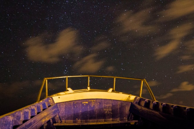 The Azorean night sky from a boat (on top of a watch tower)