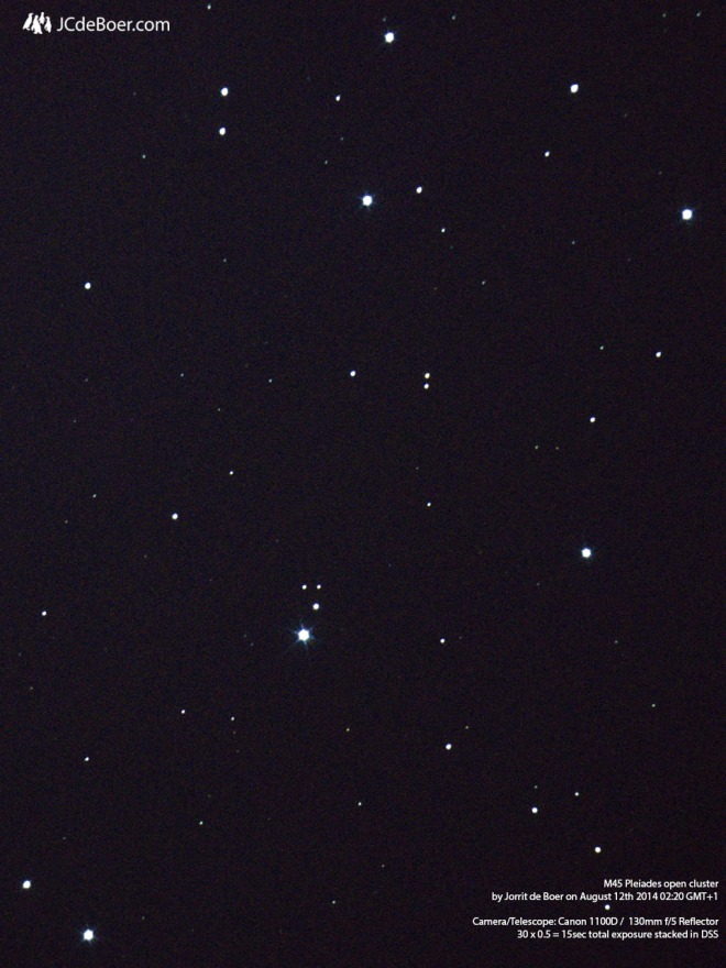 Open cluster M45 (Pleiades) through 650mm f/5 telescope