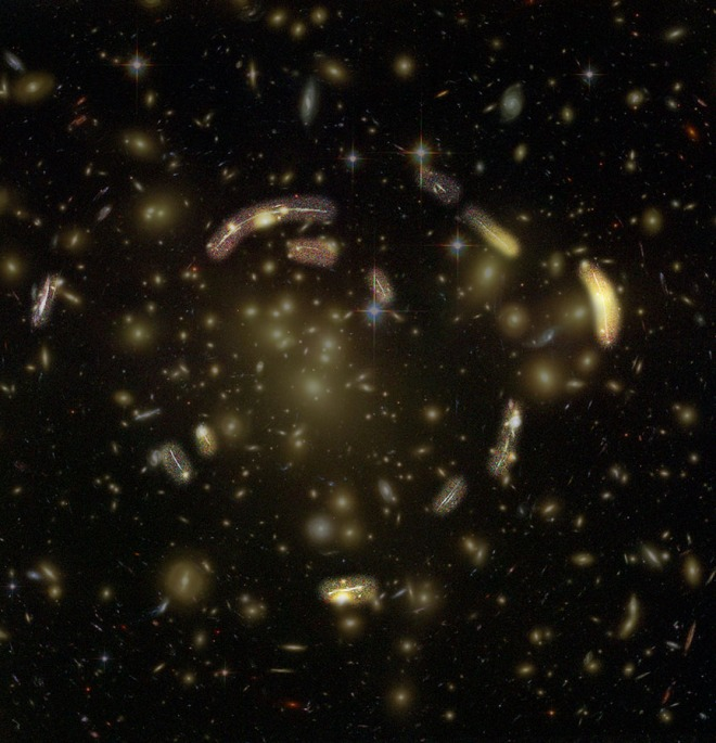 Arcs that are lensed images of galaxies behind the galaxy cluster