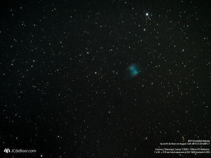 Long exposure stack of the Dumbbell Nebula (m27)