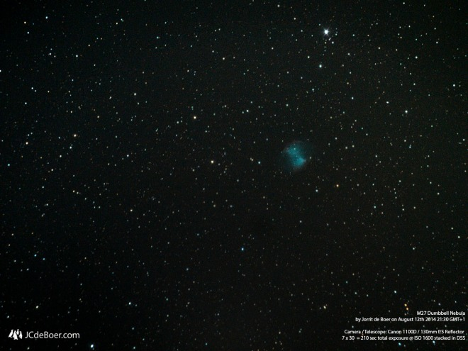 Long exposure stack of the Dumbbell Nebula (m27)