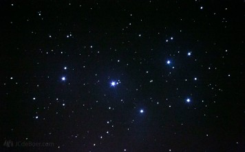 M45; Pleiades open cluster. A single 10 second frame at iso 6400