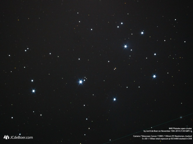 Really faint, some blue nebulosity is visible in this image of m45. Especially the strokes that are caused by stellar winds.