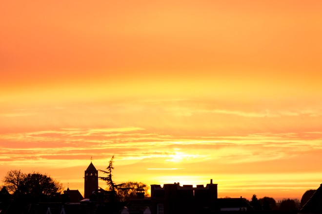 Golden evening skies over Enschede