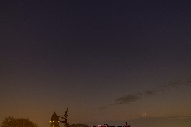Moon, Venus and Mars, low in the evening sky